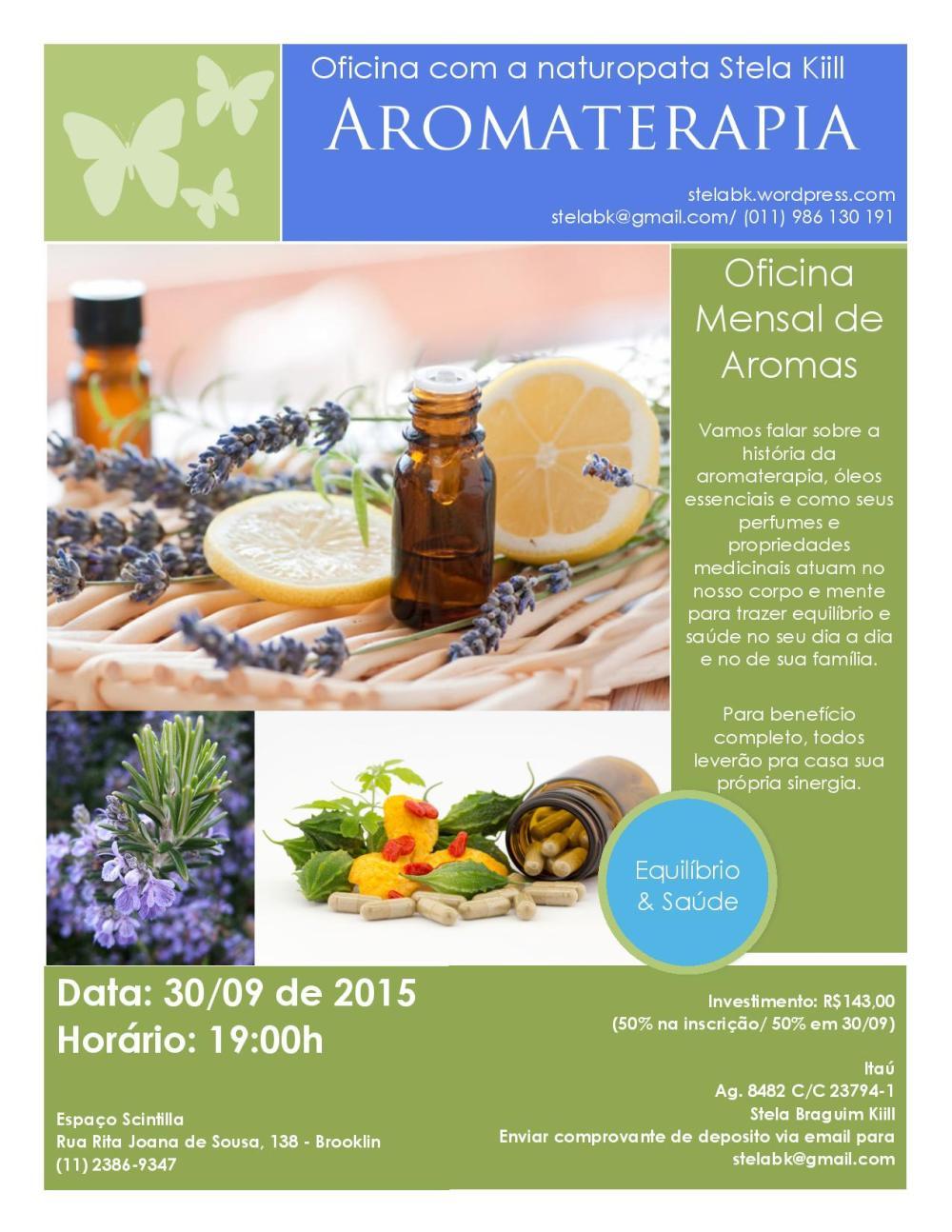 Convite Oficina Aromaterapia Stela Kiill